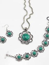 toonykelly vintage turquesa flor prata antiga (brinco e colar e braclet) conjunto de jóias