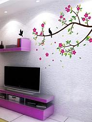 aves removíveis ambientais e adesivo de parede de pvc flor