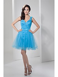 Cocktail Party Dress - Pool Petite A-line One Shoulder Knee-length Satin / Tulle
