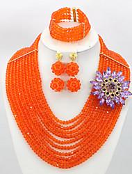 2015 New African Wedding Bridal Jewelry Crystal Beads Necklace Women Fashion Jewelry Set AC073