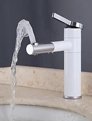 cromo&casa de banho branca única alça um buraco lavatório torneira com bico rotativo, l3110a