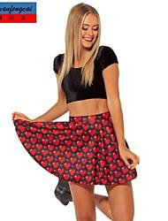 impresión de la moda falda sexy mediados de cintura de la falda plisada ocasional del cmfc®women todo el partido-underdress