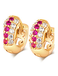 Women's Elegant 18K Gold Plating Inlay Zircon Earrings