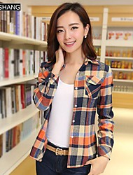 bs®women Casual / print / Übergrößen unelastisch Langarm regelmäßigen Shirt (Baumwolle)