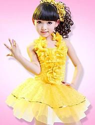 vêtements de danse latin danse pour enfants polyester performances robe de fleurs enfants sans coiffes (bleu / fuchsia / blanc / jaune)