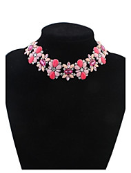 Women Cute Rhinestone Florals Cluster Chokers Bib Statement Necklace