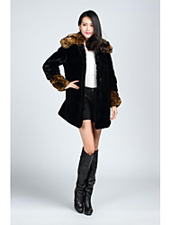 Fur Coats Coats/Jackets Long Sleeve Faux Fur Jackets Black
