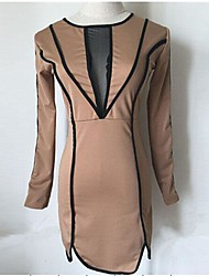 O M G Women's European Contrast Color Long Sleeve Dress
