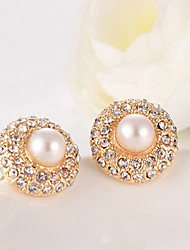 ZGTS Women's Gorgeous 18K Gold Pearl and Rhinestone Earring