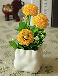 hygrangeas amarelo artificial flores com vaso
