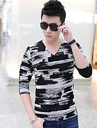 Masculino Camiseta Misto de Algodão Estampado Manga Comprida Casual / Tamanhos Grandes-Azul / Vermelho / Branco