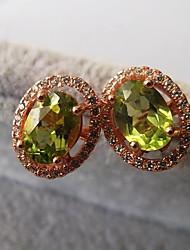 925 Silver Peridot Gemstone Stud earrings earrings