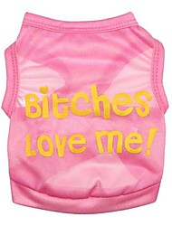 """Dacron Pink Vest Printed with """"Bitches love me!""""for Pets Dogs (Assorted Sizes)"""