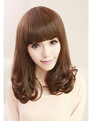 Angelaicos Womens Lolita Harajuku Girls Cute Bangs Curly Daily Wear Cool Nightclub Sexy Hair Bob Wigs Medium Black Brown