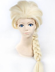 nieuwe cartoon pruik koningin pruik lange blonde vlecht cosplay anime pruik paardenstaart klassieke halloween haar synthetische pruik