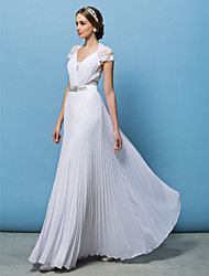 Lanting A-line Wedding Dress - White Floor-length V-neck Chiffon