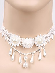 The Bride Beautiful White Pearl Necklace Female Short Lace Collar Necklace