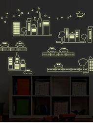ciudad removible etiqueta de la pared del pvc paisaje fluorescencia