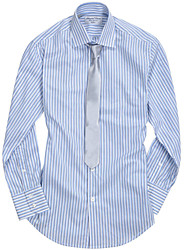 Men's Striped Casual / Work / Formal / Plus Sizes Shirt,Cotton Long Sleeve Blue