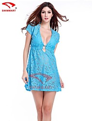 Hollow Out  Short Sleeve Lace Dress Bikini Outside Tunic
