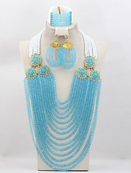 African Indian Wedding Beads Jewelry Set Luxury Bridal Crystal Beads Necklace Bracelet Earrings Set