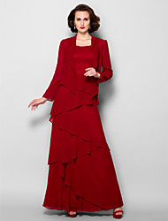 A-line Mother of the Bride Dress - Burgundy Floor-length Long Sleeve Georgette