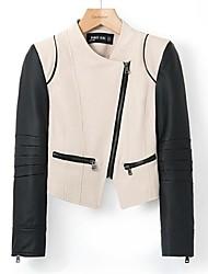 Manteau Aux femmes,Couleur Pleine Manches Longues Multi-couleur Polyuréthane / Coton / Polyester / Autres Moyen Printemps