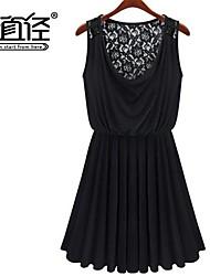 recogida de encaje sin mangas de la falda llena vestidos ocasionales de las mujeres