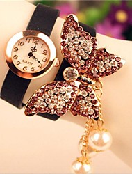 Women's 2015 The Latest Fashion Pearl Butterfly Leather  Quartz Watch(Assorted Colors)