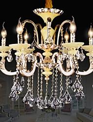 Modern Crystal Chandelier Six Lights Zinc Alloy Jade-like Resin and Crystal