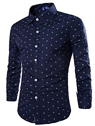 Men's Print Casual Shirt,Cotton Long Sleeve Blue / Red / White