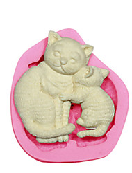 Cat Mother & Kitten Silicone Mould Cake Decorating Silicone Mold For Fondant Candy Crafts Jewelry PMC Resin Clay
