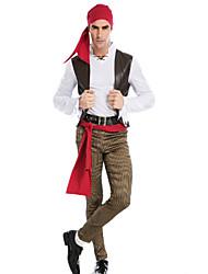 Costumes de Cosplay / Costume de Soirée Pirate Fête / Célébration Déguisement Halloween Rouge Couleur Pleine / MosaïqueManteau /