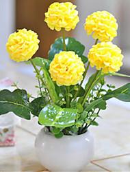 flores amarelas hygrangeas artificiais com vaso