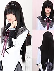 Angelaicos Women Akemi Homura Puella Magi Madoka Magica Long Straight Black Halloween Costume Party Cosplay Wig