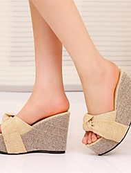 Women's Shoes Wedge Heel Peep Toe Sandals Dress Green/ Beige
