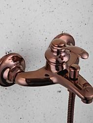 Contemporary Three Holes Rose Gold   Bathroom Tub Faucet