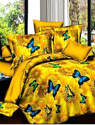conjuntos de cama óleo 3d flor pintura de impressão comforter sets cama define edredons colchas tamanho grande rainha