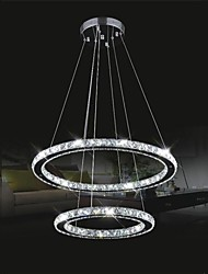LED Crystal Pendant Lighting Transparent Crystal Double Round Ring 40CM Plus 60CM Fixtures
