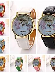 Women World Map Pu Leather Diamond Brand Luxury Lady Bracket Dress Wristwatch (Assorted Colors)C&D-200