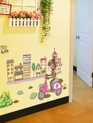 pared calcomanías pegatinas de pared, estilo de la ciudad en bicicleta chica pvc pegatinas de pared
