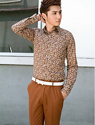 Shirts Classic (Semi-Spread) Long Sleeve Cotton/Polyester Patterns Coffee