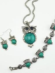 toonykelly vintage turquesa coruja prata antiga (brinco e colar e braclet) conjunto de jóias
