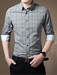MUDU Men's Casual Lattice Long Sleeve Regular T-Shirts (Cotton Blends)
