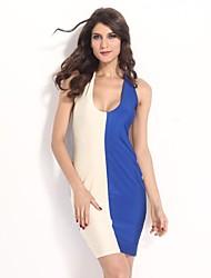 Women's Multi-color Dress , Sexy/Bodycon Sleeveless