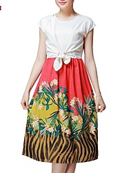 Women's Going out Plus Size / Vintage / Cute Plus Size Dress,Print / Color Block Midi Short Sleeve Multi-color Polyester Summer