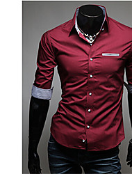 headway,Men's Vintage/Casual/Party/Work Long Sleeve Pocket decoration Casual Shirts (Cotton/Rayon)