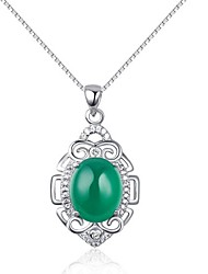 Fashion Elegant Ladies' Silver Necklace With Green Onyx