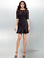 Sheath / Column Jewel Neck Short / Mini Lace Cocktail Party Homecoming Dress with Lace Pleats by TS Couture®