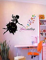 papillons colorés amovibles et sticker mural fée des fleurs